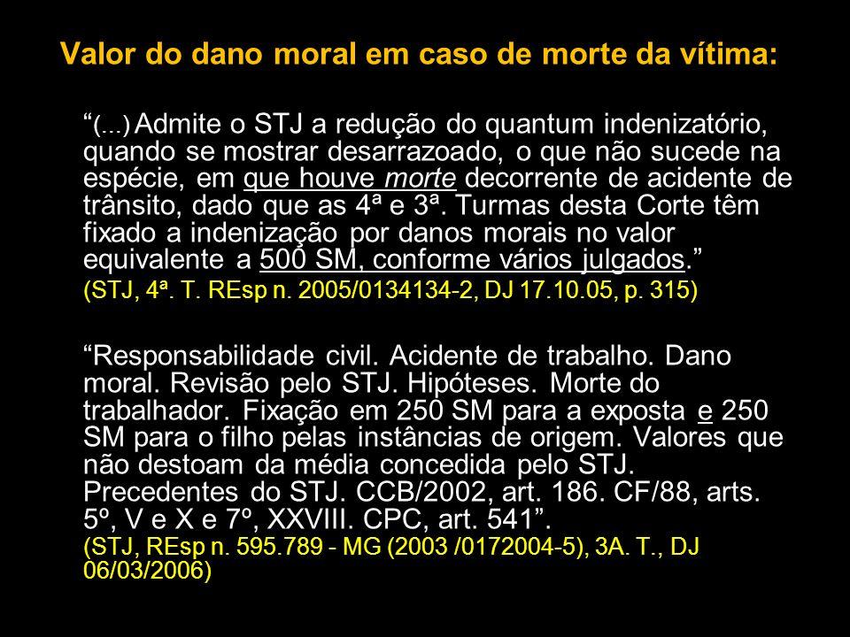 Valor do dano moral em caso de morte da vítima: (...) Admite o STJ a redução do quantum indenizatório, quando se mostrar desarrazoado, o que não suced