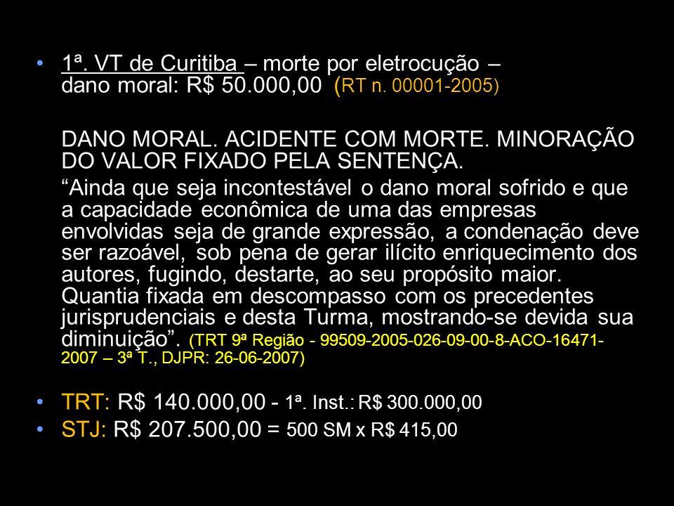1ª. VT de Curitiba – morte por eletrocução – dano moral: R$ 50.000,00 ( RT n. 00001-2005) DANO MORAL. ACIDENTE COM MORTE. MINORAÇÃO DO VALOR FIXADO PE
