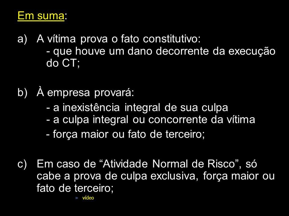 Em suma: a)A vítima prova o fato constitutivo: - que houve um dano decorrente da execução do CT; b)À empresa provará: - a inexistência integral de sua