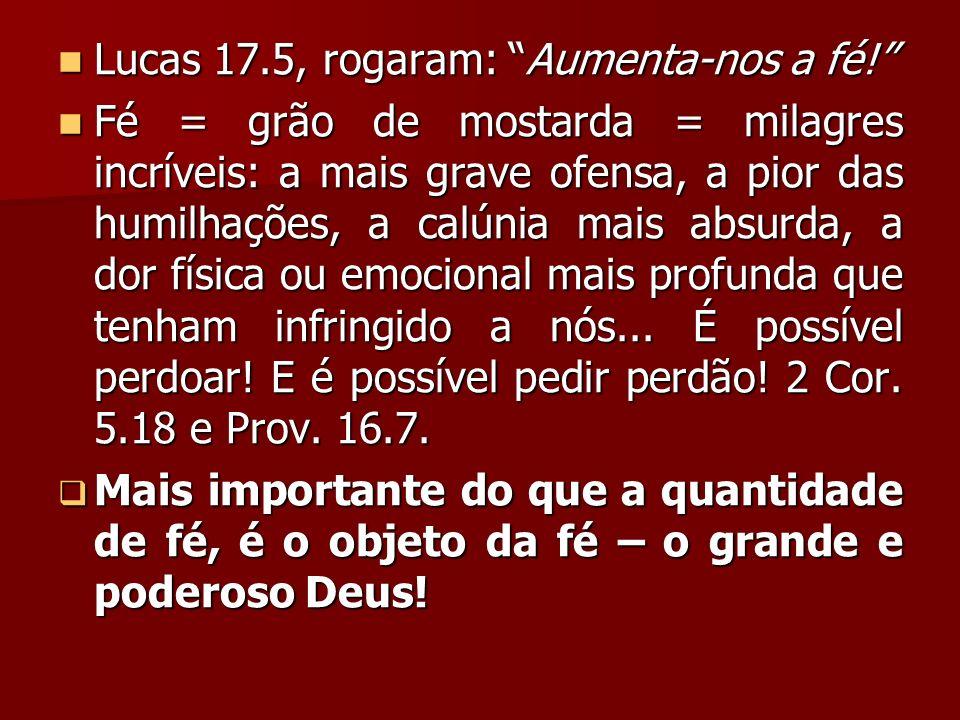 Lucas 17.5, rogaram: Aumenta-nos a fé! Lucas 17.5, rogaram: Aumenta-nos a fé! Fé = grão de mostarda = milagres incríveis: a mais grave ofensa, a pior