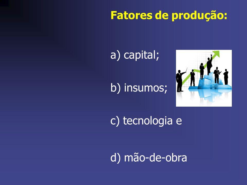 Fatores de produção: a) capital; b) insumos; c) tecnologia e d) mão-de-obra