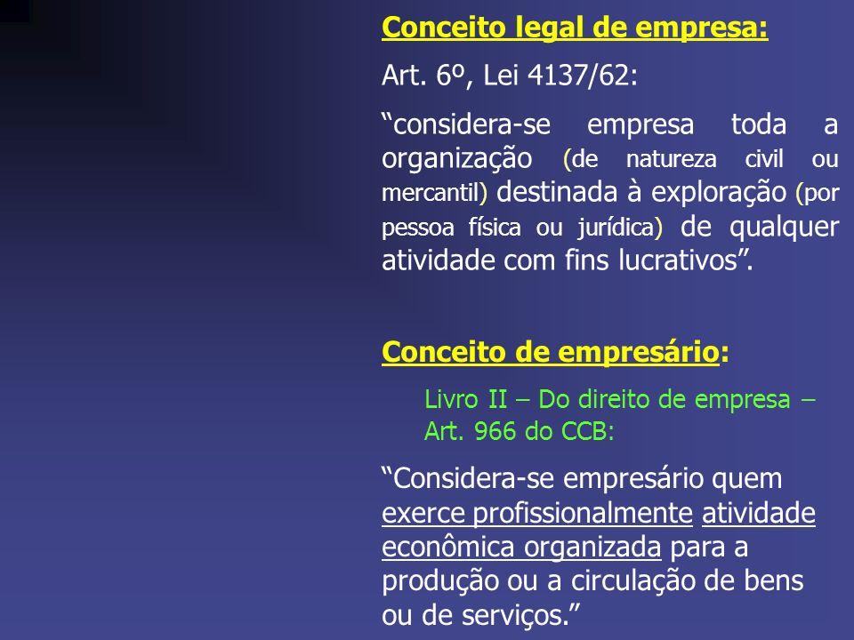 Conceito legal de empresa: Art. 6º, Lei 4137/62: considera-se empresa toda a organização (de natureza civil ou mercantil) destinada à exploração (por
