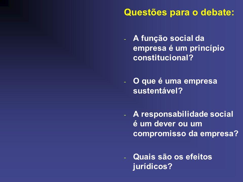 Questões para o debate: - A função social da empresa é um princípio constitucional? - O que é uma empresa sustentável? - A responsabilidade social é u