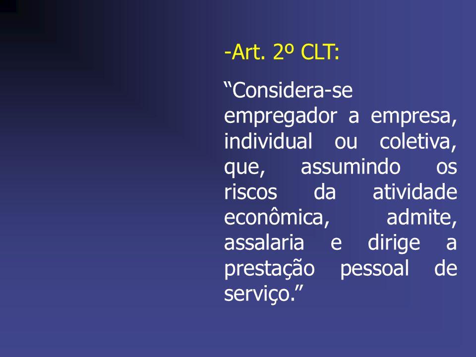 -Art. 2º CLT: Considera-se empregador a empresa, individual ou coletiva, que, assumindo os riscos da atividade econômica, admite, assalaria e dirige a