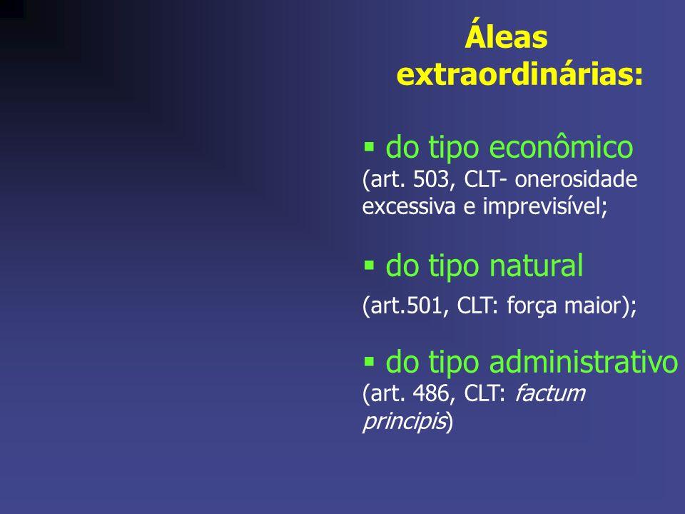 Áleas extraordinárias: do tipo econômico (art. 503, CLT- onerosidade excessiva e imprevisível; do tipo natural (art.501, CLT: força maior); do tipo ad