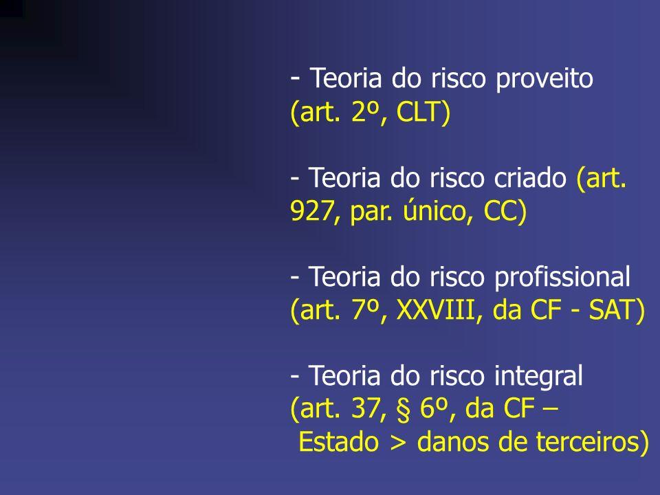 - Teoria do risco proveito (art. 2º, CLT) - Teoria do risco criado (art. 927, par. único, CC) - Teoria do risco profissional (art. 7º, XXVIII, da CF -