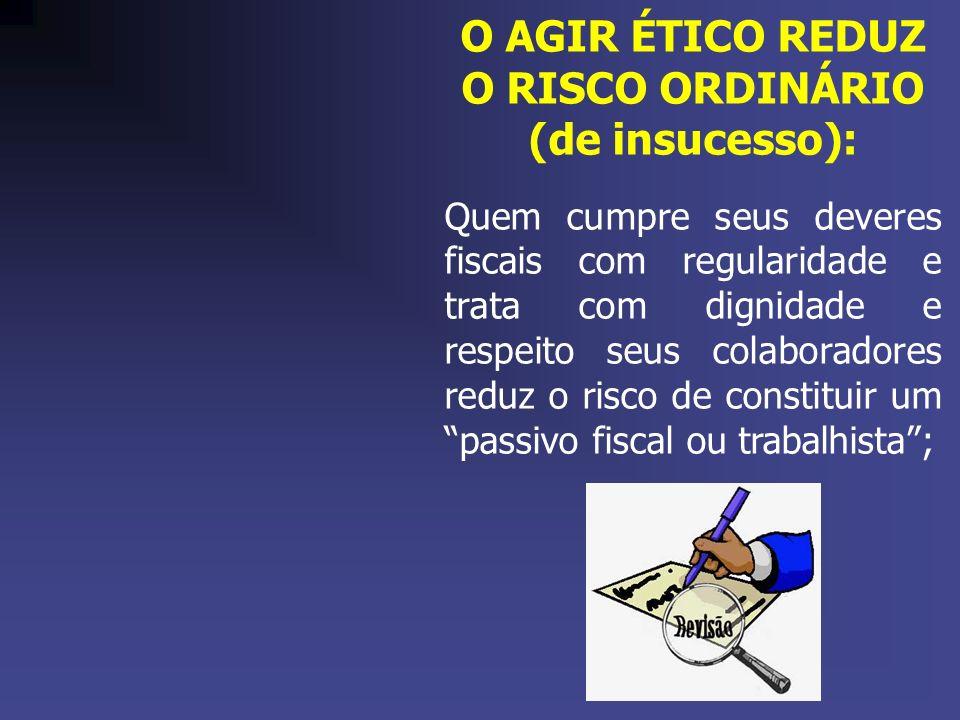 O AGIR ÉTICO REDUZ O RISCO ORDINÁRIO (de insucesso): Quem cumpre seus deveres fiscais com regularidade e trata com dignidade e respeito seus colaborad