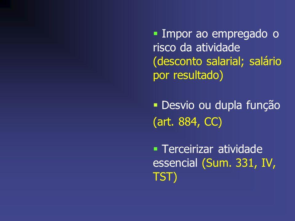 Impor ao empregado o risco da atividade (desconto salarial; salário por resultado) Desvio ou dupla função (art. 884, CC) Terceirizar atividade essenci