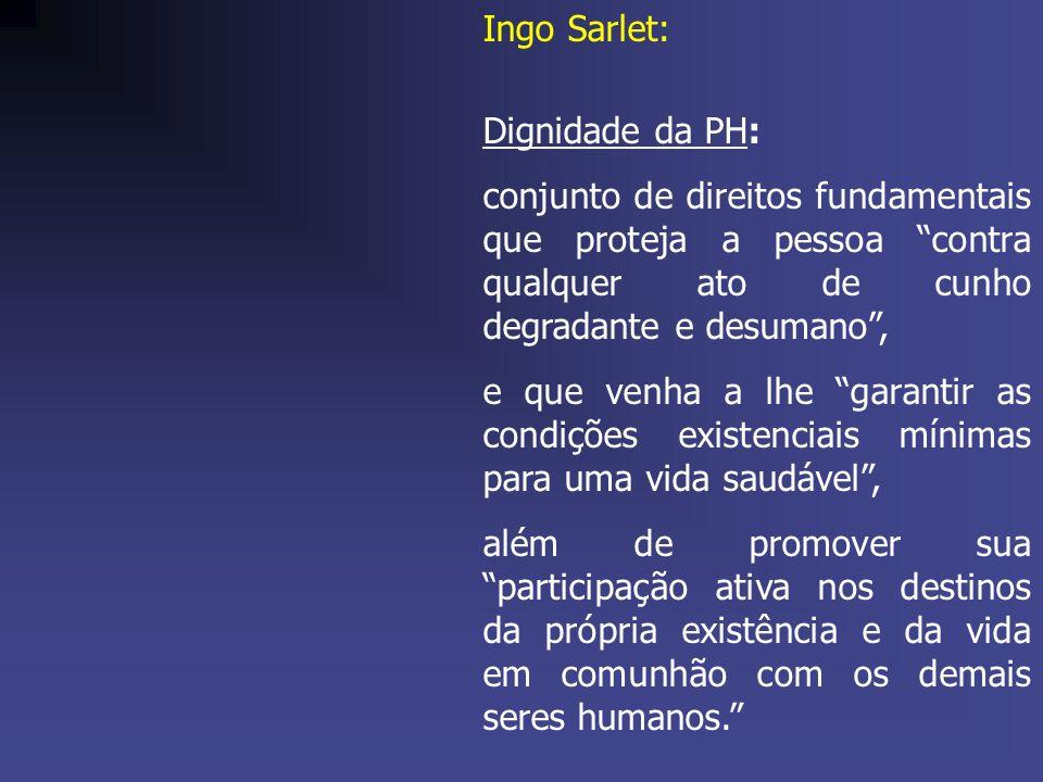 Ingo Sarlet: Dignidade da PH: conjunto de direitos fundamentais que proteja a pessoa contra qualquer ato de cunho degradante e desumano, e que venha a