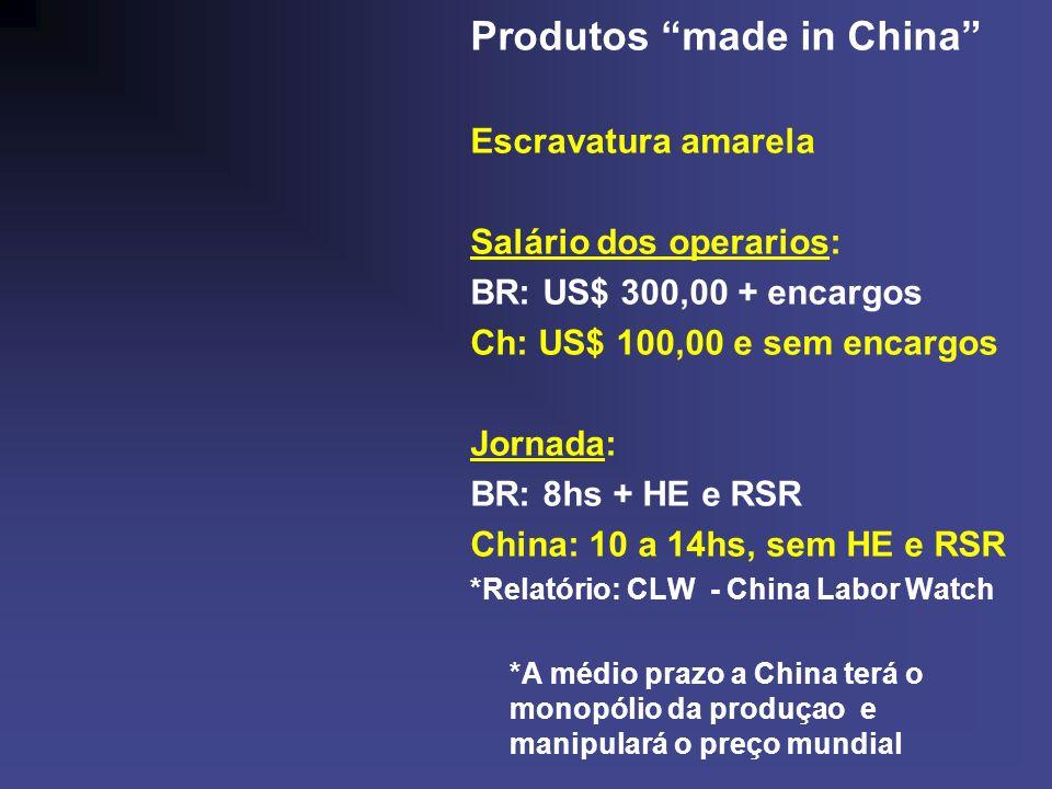 Produtos made in China Escravatura amarela Salário dos operarios: BR: US$ 300,00 + encargos Ch: US$ 100,00 e sem encargos Jornada: BR: 8hs + HE e RSR China: 10 a 14hs, sem HE e RSR *Relatório: CLW - China Labor Watch *A médio prazo a China terá o monopólio da produçao e manipulará o preço mundial