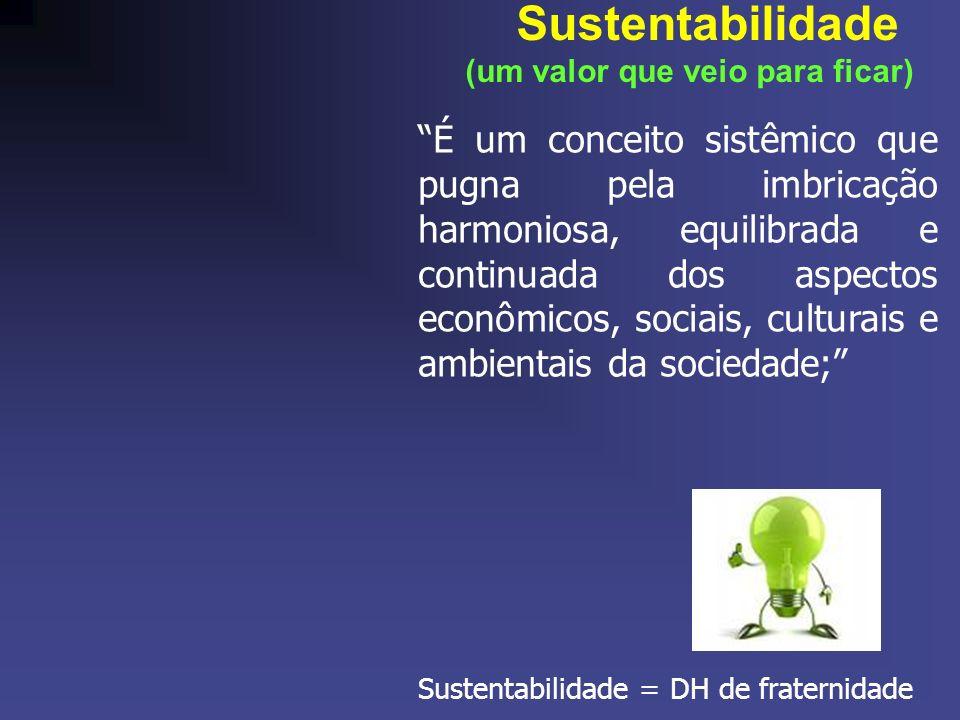 Sustentabilidade (um valor que veio para ficar) É um conceito sistêmico que pugna pela imbricação harmoniosa, equilibrada e continuada dos aspectos econômicos, sociais, culturais e ambientais da sociedade; Sustentabilidade = DH de fraternidade