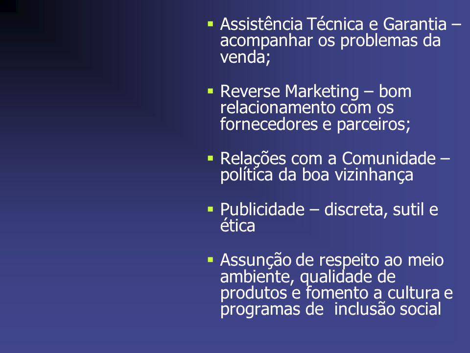 Assistência Técnica e Garantia – acompanhar os problemas da venda; Reverse Marketing – bom relacionamento com os fornecedores e parceiros; Relações co
