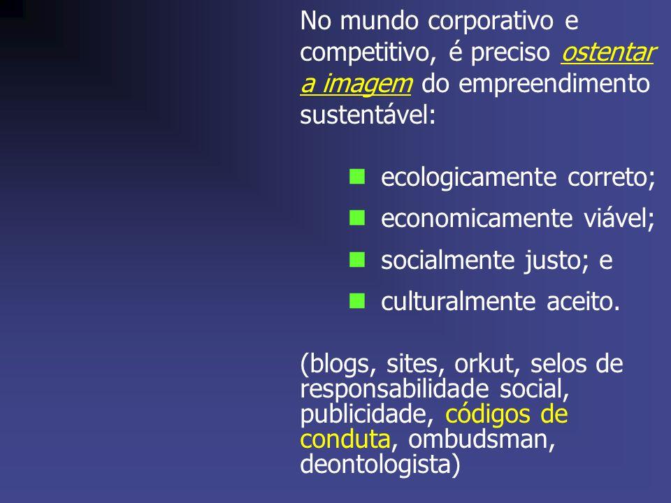 No mundo corporativo e competitivo, é preciso ostentar a imagem do empreendimento sustentável: ecologicamente correto; economicamente viável; socialmente justo; e culturalmente aceito.