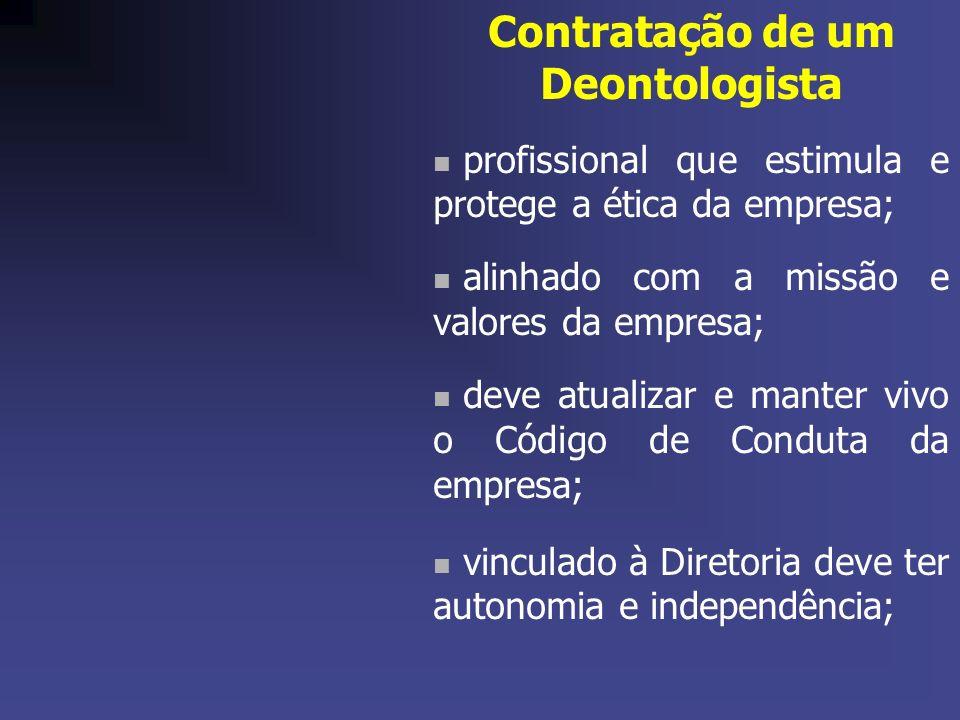 Contratação de um Deontologista profissional que estimula e protege a ética da empresa; alinhado com a missão e valores da empresa; deve atualizar e m