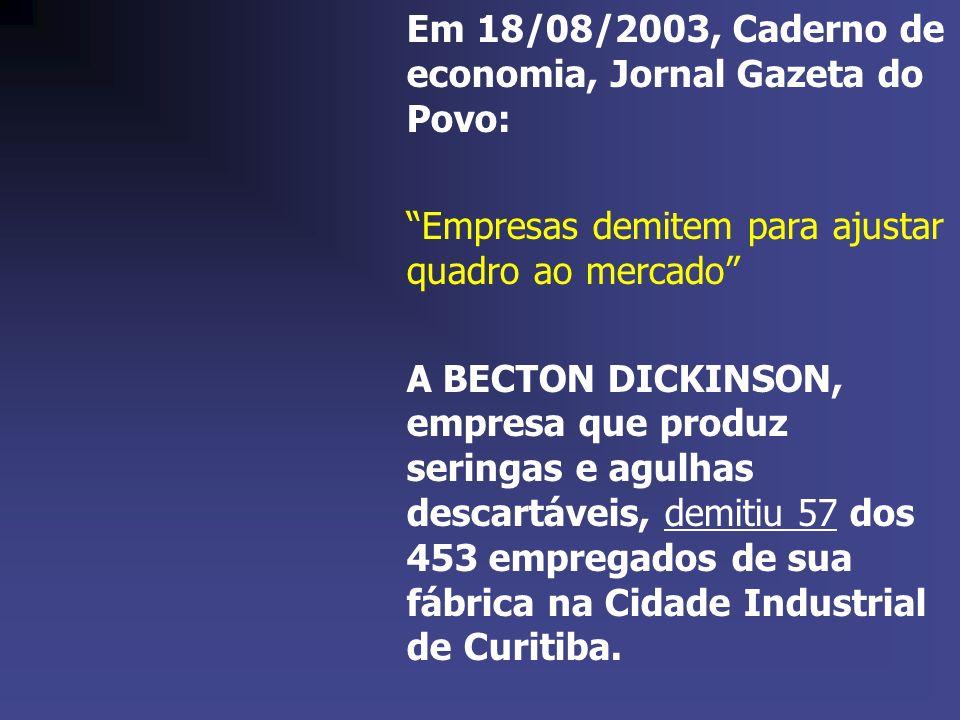 Em 18/08/2003, Caderno de economia, Jornal Gazeta do Povo: Empresas demitem para ajustar quadro ao mercado A BECTON DICKINSON, empresa que produz seri