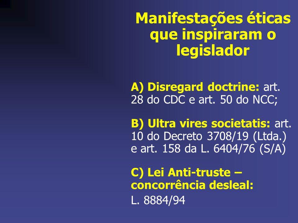 Manifestações éticas que inspiraram o legislador A) Disregard doctrine: art. 28 do CDC e art. 50 do NCC; B) Ultra vires societatis: art. 10 do Decreto