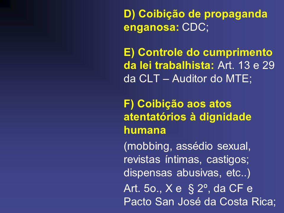 D) Coibição de propaganda enganosa: CDC; E) Controle do cumprimento da lei trabalhista: Art. 13 e 29 da CLT – Auditor do MTE; F) Coibição aos atos ate