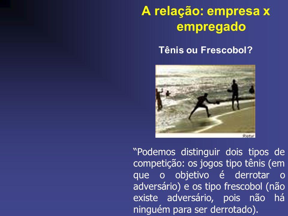 A relação: empresa x empregado Tênis ou Frescobol? Podemos distinguir dois tipos de competição: os jogos tipo tênis (em que o objetivo é derrotar o ad