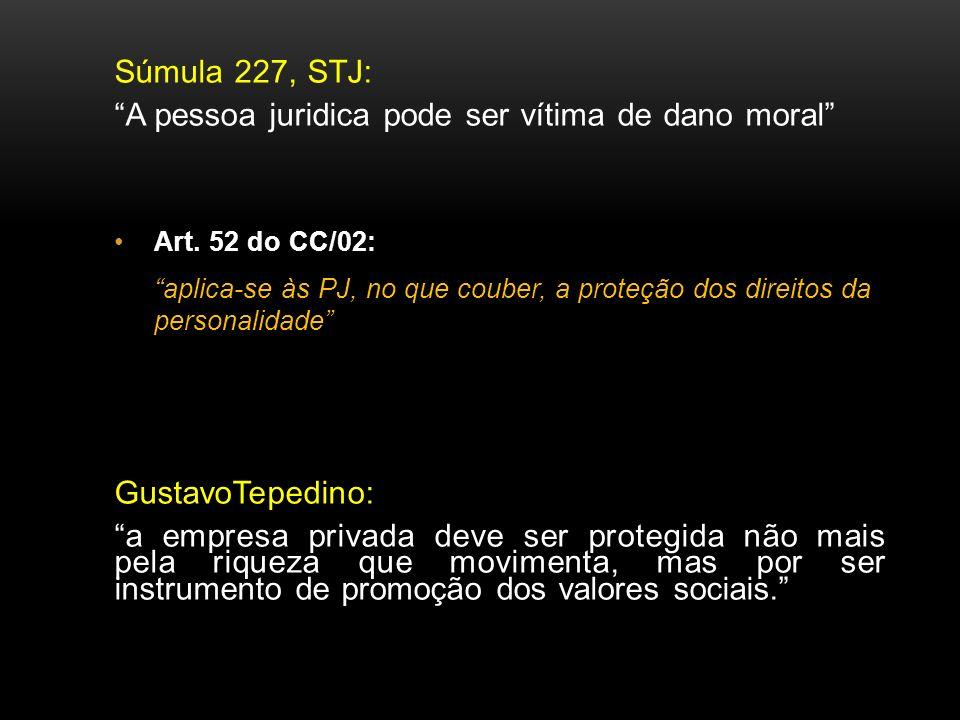 Súmula 227, STJ: A pessoa juridica pode ser vítima de dano moral Art. 52 do CC/02: aplica-se às PJ, no que couber, a proteção dos direitos da personal