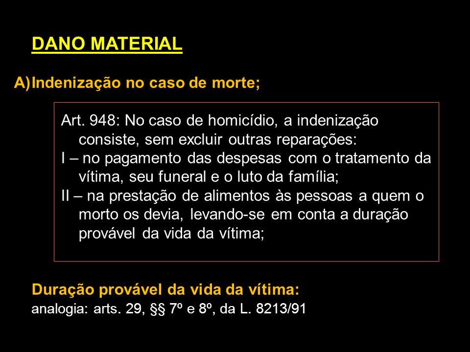 DANO MATERIAL A)Indenização no caso de morte; Art. 948: No caso de homicídio, a indenização consiste, sem excluir outras reparações: I – no pagamento