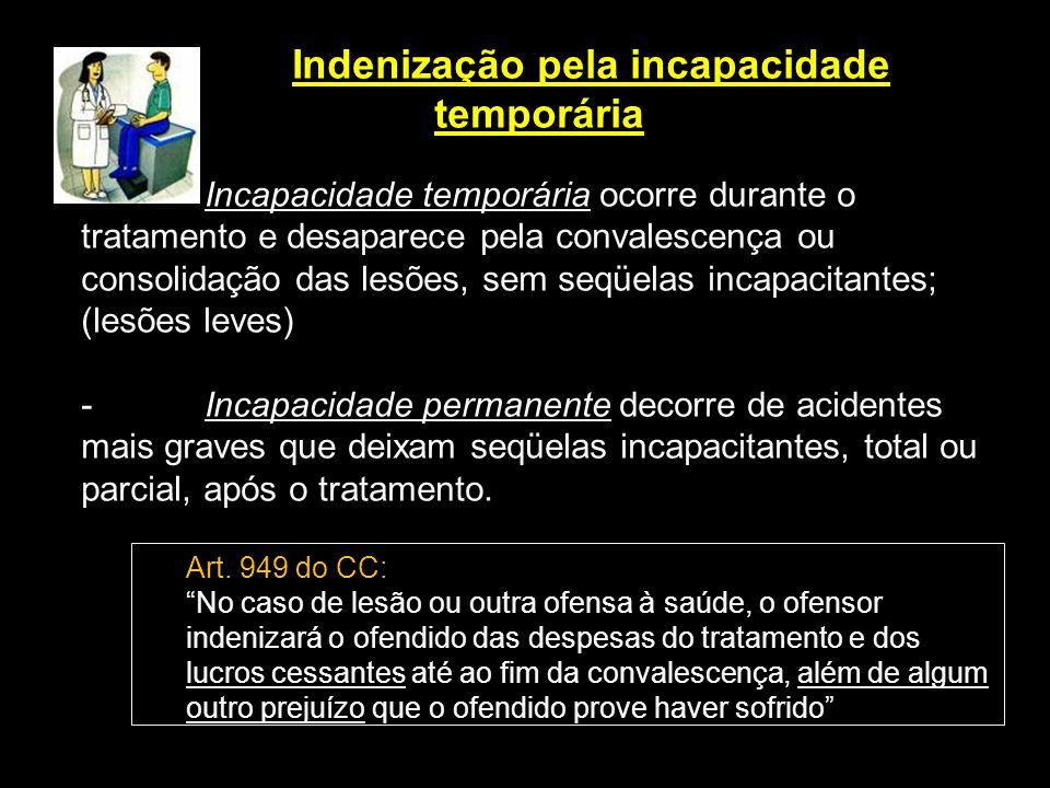Indenização pela incapacidade temporária - Incapacidade temporária ocorre durante o tratamento e desaparece pela convalescença ou consolidação das les