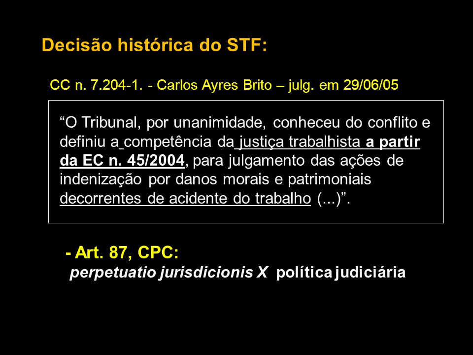 Decisão histórica do STF: CC n. 7.204-1. - Carlos Ayres Brito – julg. em 29/06/05 O Tribunal, por unanimidade, conheceu do conflito e definiu a compet