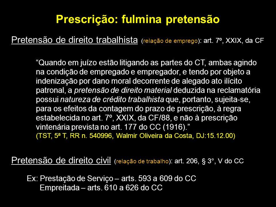 Prescrição: fulmina pretensão Pretensão de direito trabalhista (relação de emprego) : art. 7º, XXIX, da CF Quando em juízo estão litigando as partes d