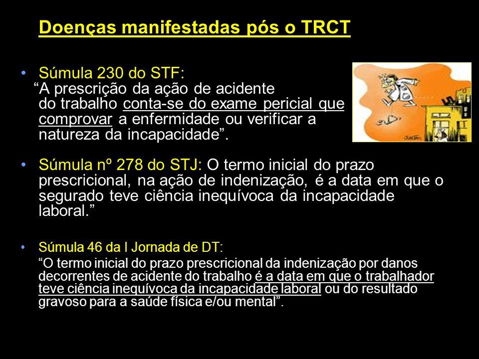 Doenças manifestadas pós o TRCT Súmula 230 do STF: A prescrição da ação de acidente do trabalho conta-se do exame pericial que comprovar a enfermidade
