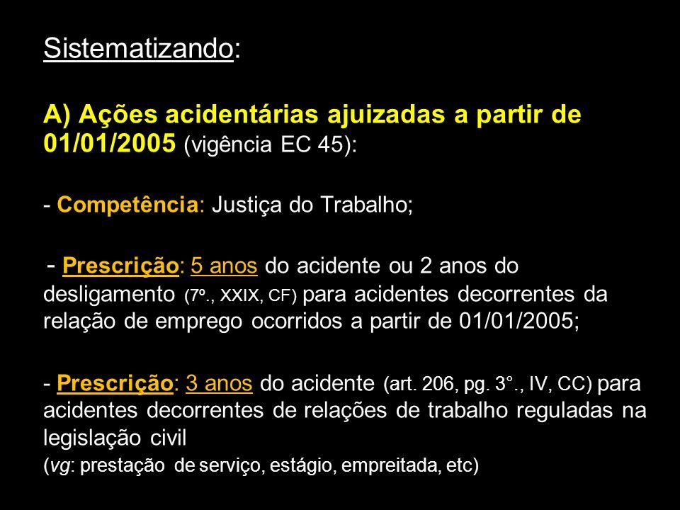 Sistematizando: A) Ações acidentárias ajuizadas a partir de 01/01/2005 (vigência EC 45): - Competência: Justiça do Trabalho; - Prescrição: 5 anos do a