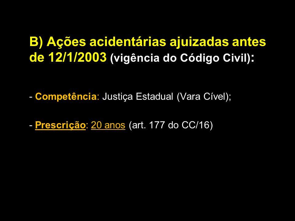 B) Ações acidentárias ajuizadas antes de 12/1/2003 (vigência do Código Civil) : - Competência: Justiça Estadual (Vara Cível); - Prescrição: 20 anos (a