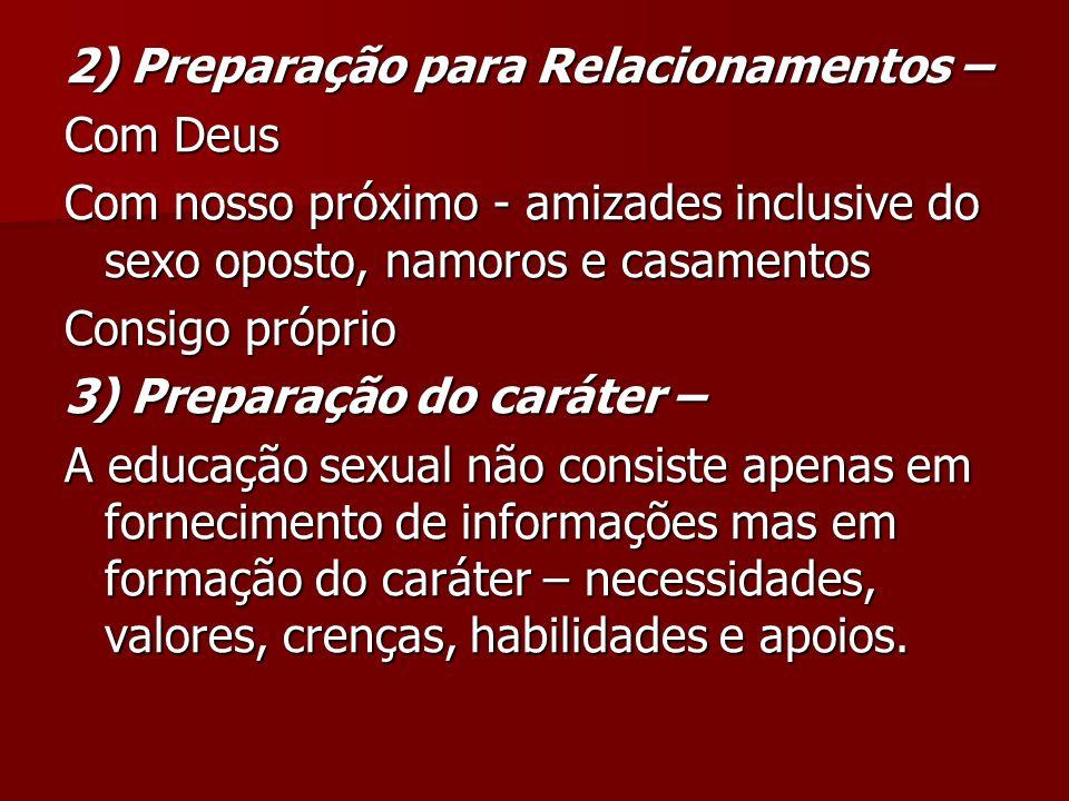 2) Preparação para Relacionamentos – Com Deus Com nosso próximo - amizades inclusive do sexo oposto, namoros e casamentos Consigo próprio 3) Preparaçã