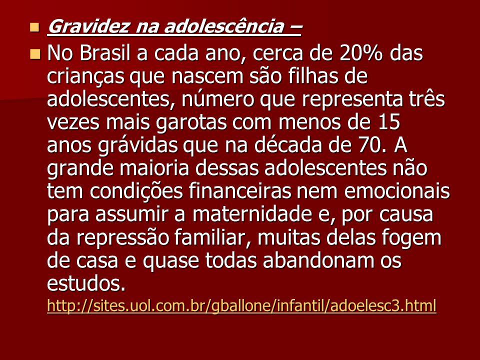 Gravidez na adolescência – Gravidez na adolescência – No Brasil a cada ano, cerca de 20% das crianças que nascem são filhas de adolescentes, número qu