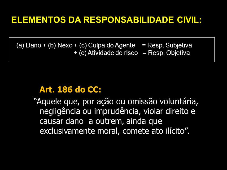 ELEMENTOS DA RESPONSABILIDADE CIVIL: (a) Dano + (b) Nexo + (c) Culpa do Agente = Resp. Subjetiva + (c) Atividade de risco = Resp. Objetiva Art. 186 do
