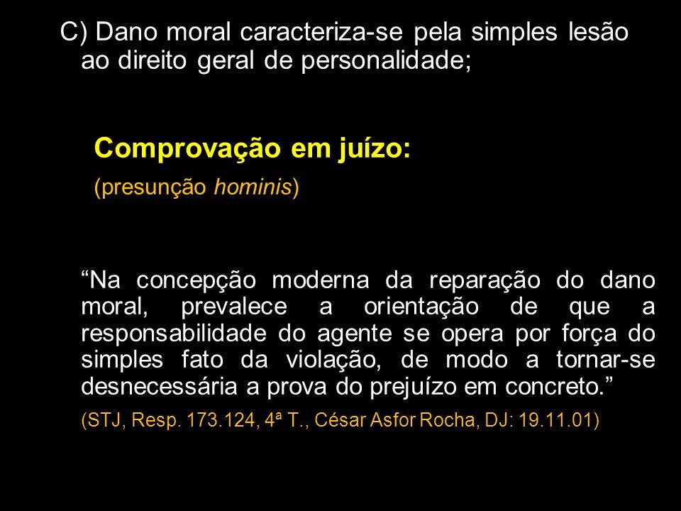 C) Dano moral caracteriza-se pela simples lesão ao direito geral de personalidade; Comprovação em juízo: (presunção hominis) Na concepção moderna da r