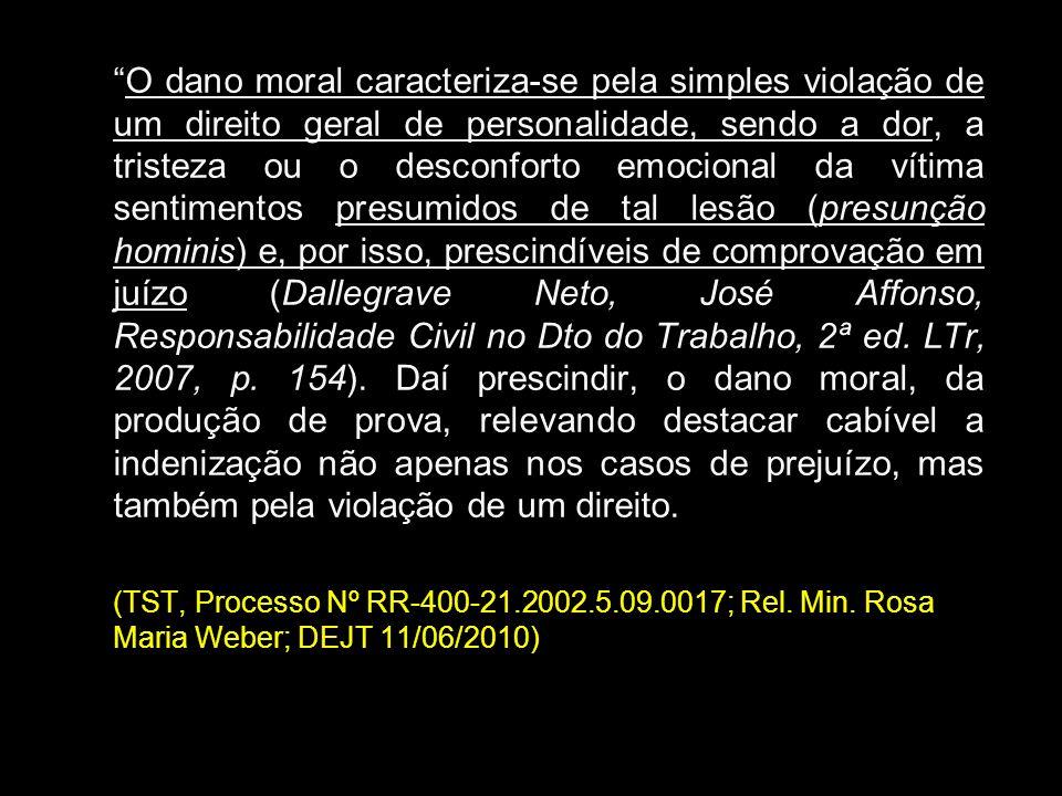 O dano moral caracteriza-se pela simples violação de um direito geral de personalidade, sendo a dor, a tristeza ou o desconforto emocional da vítima s