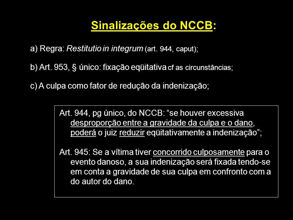 Sinalizações do NCCB: a) Regra: Restitutio in integrum (art. 944, caput); b) Art. 953, § único: fixação eqüitativa cf as circunstâncias; c) A culpa co