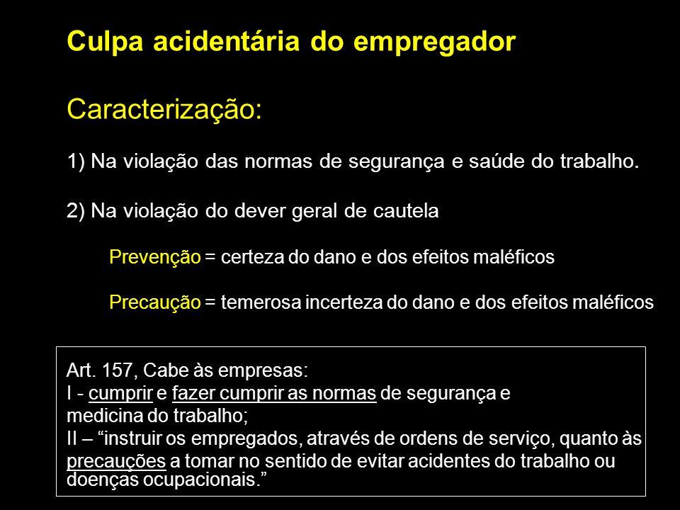 Culpa acidentária do empregador Caracterização: 1) Na violação das normas de segurança e saúde do trabalho. 2) Na violação do dever geral de cautela P