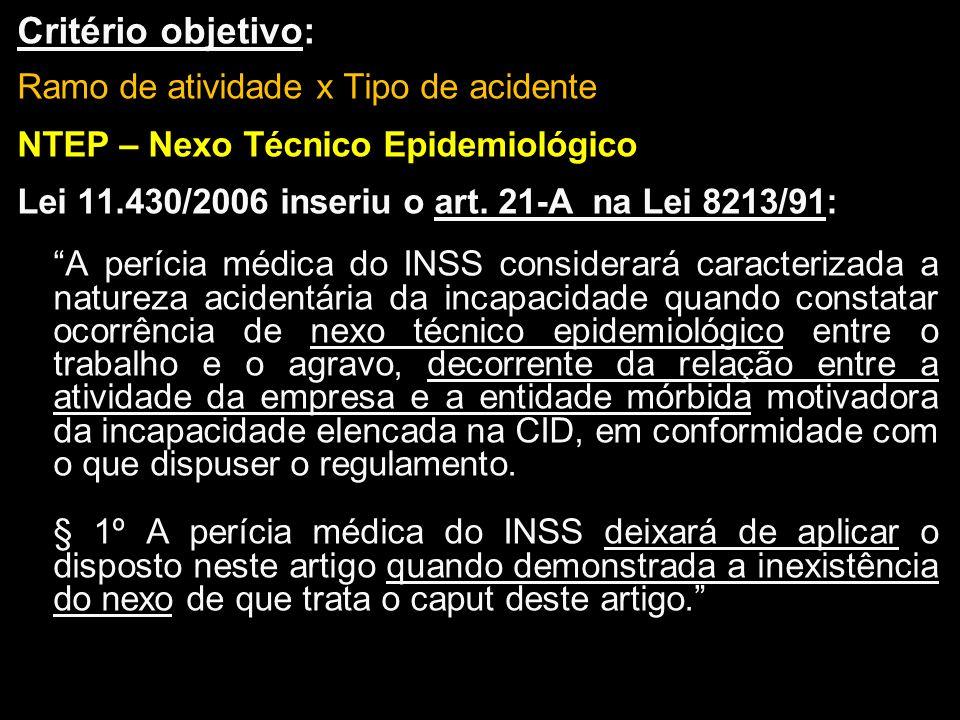 Critério objetivo: Ramo de atividade x Tipo de acidente NTEP – Nexo Técnico Epidemiológico Lei 11.430/2006 inseriu o art. 21-A na Lei 8213/91: A períc
