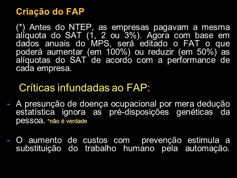 Criação do FAP (*) Antes do NTEP, as empresas pagavam a mesma alíquota do SAT (1, 2 ou 3%). Agora com base em dados anuais do MPS, será editado o FAT