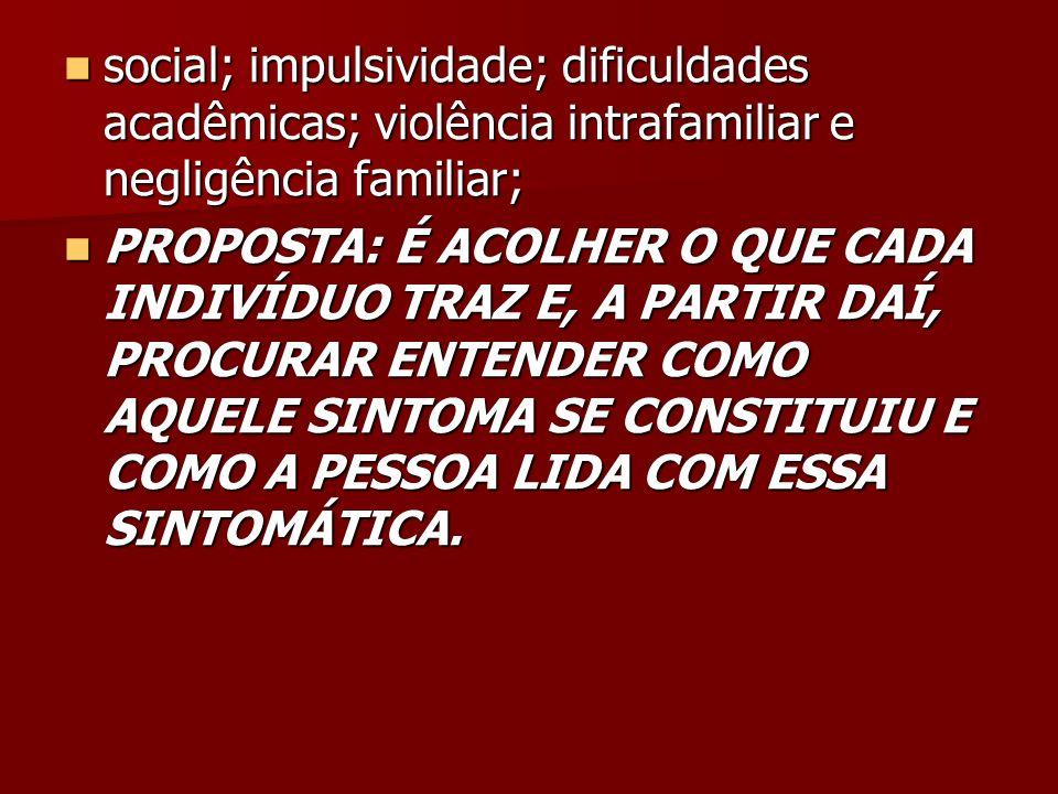 social; impulsividade; dificuldades acadêmicas; violência intrafamiliar e negligência familiar; social; impulsividade; dificuldades acadêmicas; violên