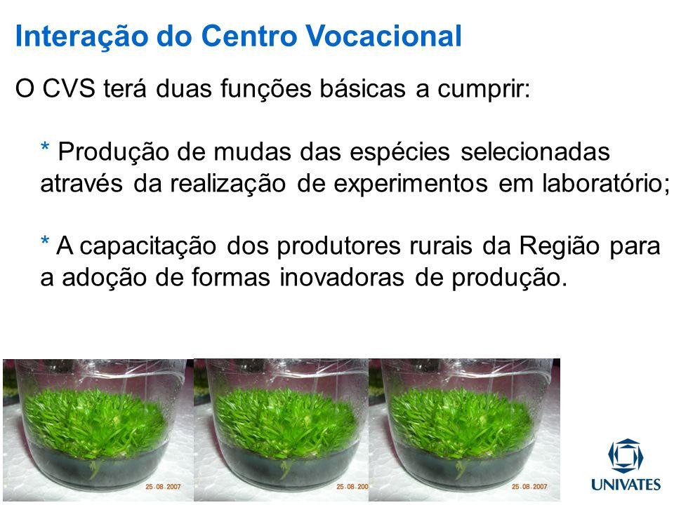 O CVS terá duas funções básicas a cumprir: * Produção de mudas das espécies selecionadas através da realização de experimentos em laboratório; * A cap