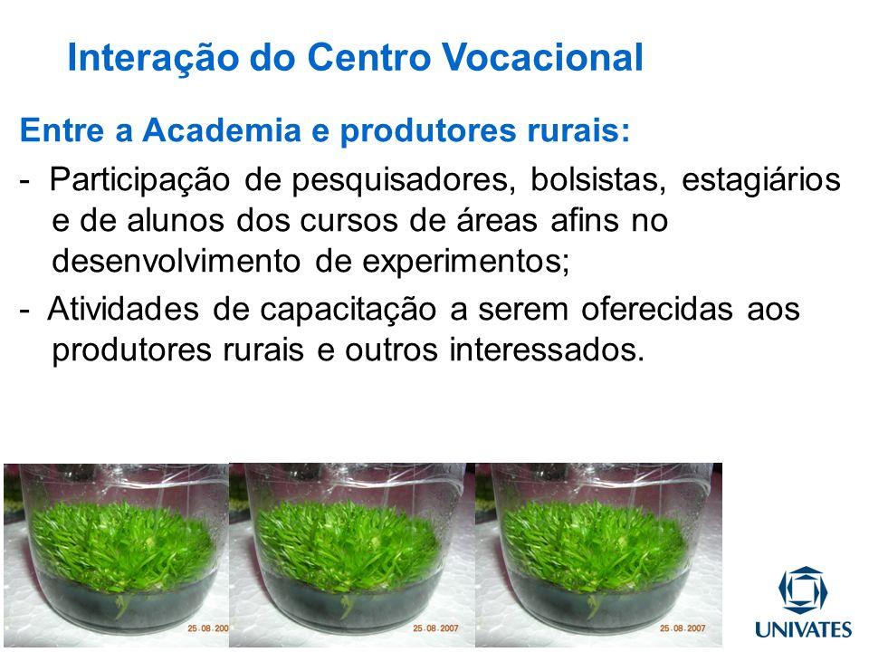 Entre a Academia e produtores rurais: - Participação de pesquisadores, bolsistas, estagiários e de alunos dos cursos de áreas afins no desenvolvimento