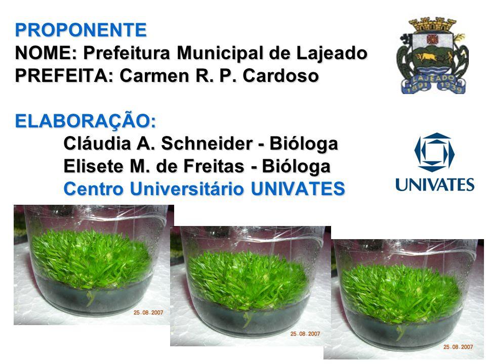 PROPONENTE NOME: Prefeitura Municipal de Lajeado PREFEITA: Carmen R. P. Cardoso ELABORAÇÃO: Cláudia A. Schneider - Bióloga Elisete M. de Freitas - Bió