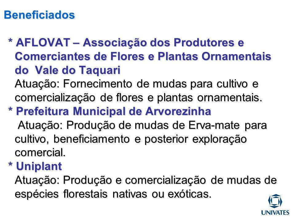 Beneficiados * AFLOVAT – Associação dos Produtores e Comerciantes de Flores e Plantas Ornamentais do Vale do Taquari Atuação: Fornecimento de mudas pa