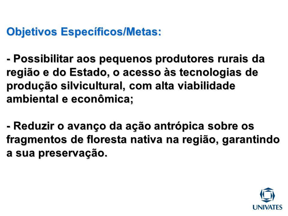 Objetivos Específicos/Metas: - Possibilitar aos pequenos produtores rurais da região e do Estado, o acesso às tecnologias de produção silvicultural, c
