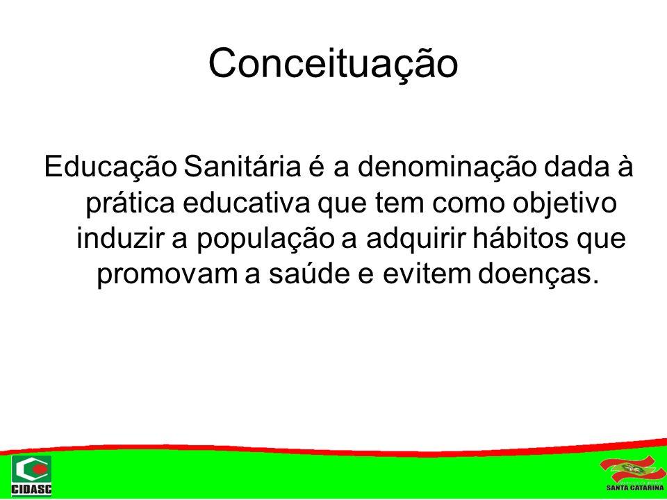 Conceituação Educação Sanitária é a denominação dada à prática educativa que tem como objetivo induzir a população a adquirir hábitos que promovam a s