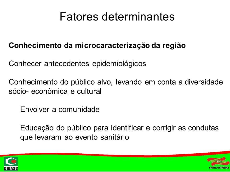 Fatores determinantes Conhecimento da microcaracterização da região Conhecer antecedentes epidemiológicos Conhecimento do público alvo, levando em con