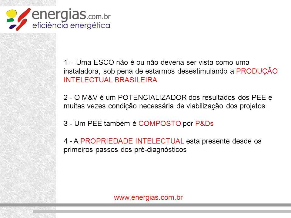 www.energias.com.br 1 - Uma ESCO não é ou não deveria ser vista como uma instaladora, sob pena de estarmos desestimulando a PRODUÇÃO INTELECTUAL BRASI
