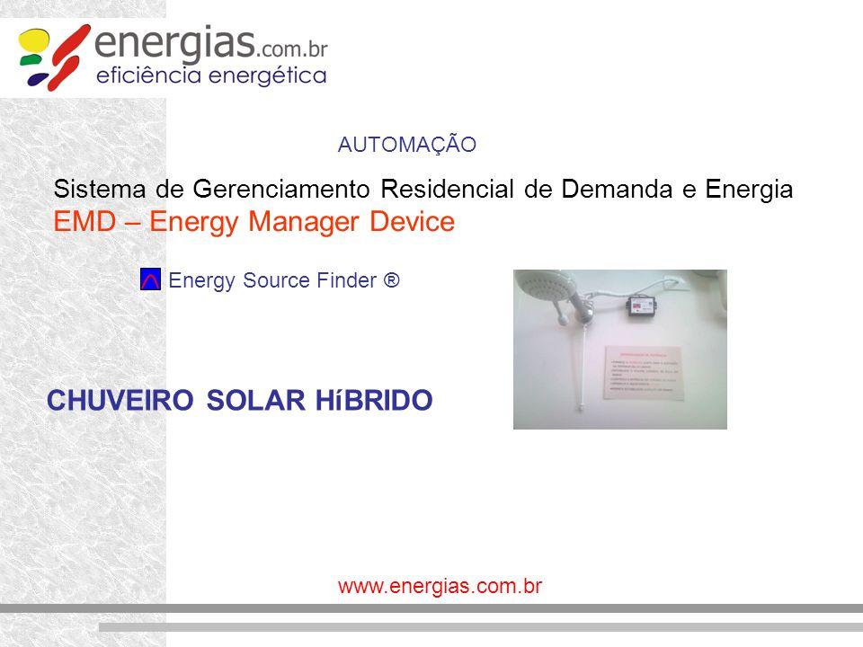 www.energias.com.br Sistema de Gerenciamento Residencial de Demanda e Energia EMD – Energy Manager Device Energy Source Finder ® AUTOMAÇÃO CHUVEIRO SO