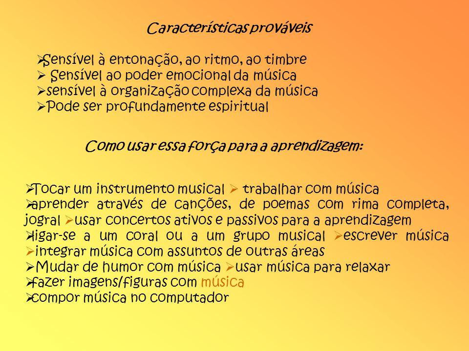 Características prováveis Sensível à entonação, ao ritmo, ao timbre Sensível ao poder emocional da música sensível à organização complexa da música Po